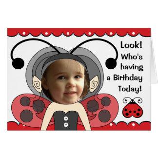 Ladybug Fairy Princess Girls PHOTO Birthday Card