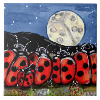 "Ladybug  Family Moon Night Design 6"" Tile Trivet"