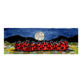Ladybug Family Watch Moon Stars Night Navy Poster