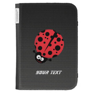 Ladybug; Faux Carbon Fiber Kindle Case