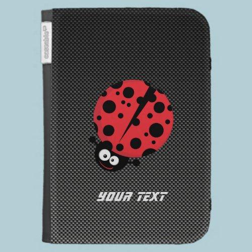 Ladybug; Faux Carbon Fiber Kindle 3G Case