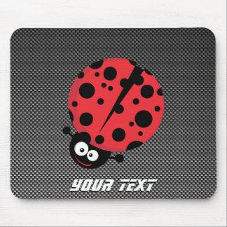 Ladybug; Faux Carbon Fiber Mouse Pad