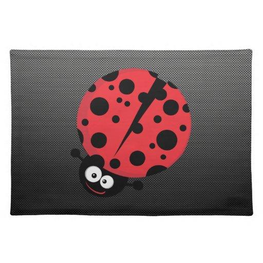 Ladybug; Faux Carbon Fiber Place Mat