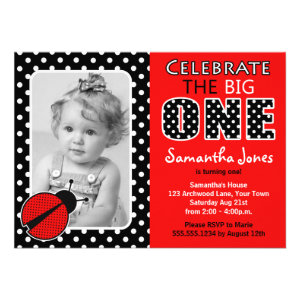Ladybug First Birthday Party Personalized Invite