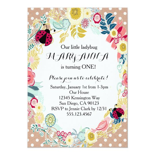 ladybug first girl birthday party invitation - Girl Birthday Party Invitations