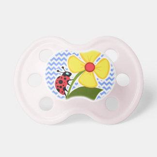 Ladybug & Flower; Blue Chevron Pattern Baby Pacifiers