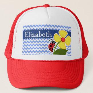 Ladybug & Flower; Blue Chevron Pattern Trucker Hat
