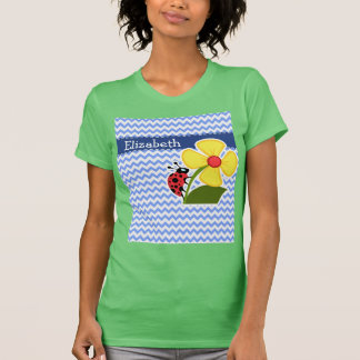 Ladybug & Flower; Blue Chevron Pattern T Shirt