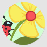 Ladybug Flower Classic Round Sticker