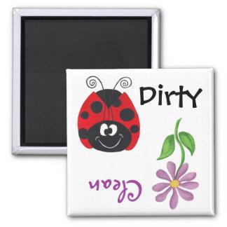 Ladybug & Flower (Clean/Dirty)  Dishwash Magnet
