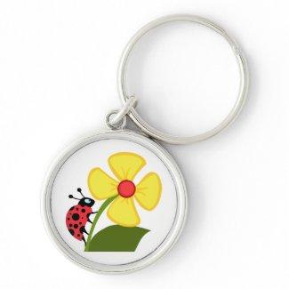 Ladybug Flower Key Chain