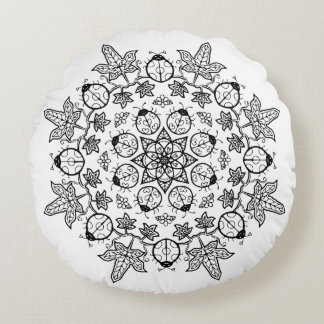 Ladybug Flower Leaves Mandala Coloring me Pillow