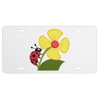 Ladybug Flower License Plate