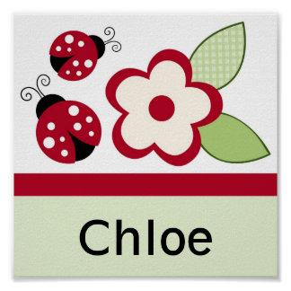 Ladybug Flower Nursery Wall Art Name Print