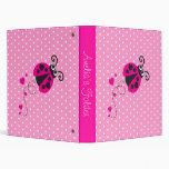 Ladybug flower polka dots pink name folder binder