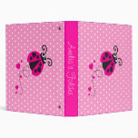 Ladybug flower polka dots pink name folder vinyl binders
