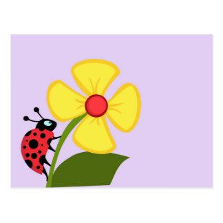 Ladybug Flower Postcards
