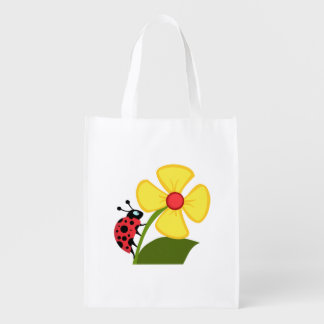 Ladybug Flower Reusable Grocery Bag