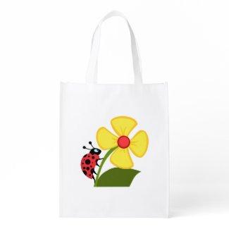 Ladybug Flower Tote Beach Bags