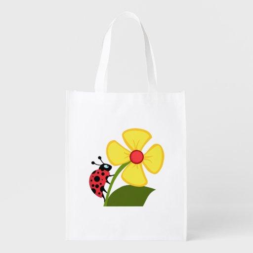 Ladybug Flower Market Totes