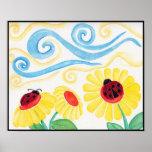 Ladybug & Flowers Watercolor Print