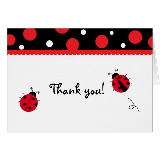 Ladybug Folded Thank you Note Cards