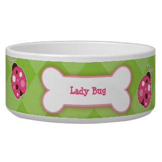 Ladybug Garden Dog Bone Dog Dish - Green