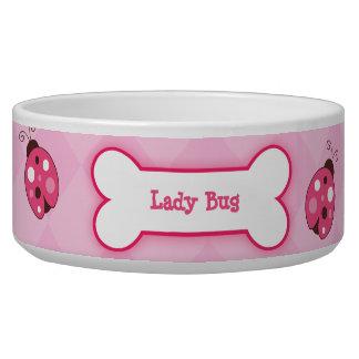 Ladybug Garden Dog Bone Dog Dish - Light Pink