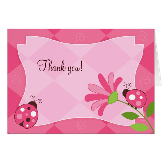 LADYBUG GARDEN Folded Thank you note Card