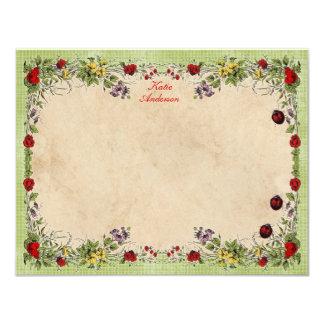 Ladybug Garden Personalized Flat Note Cards
