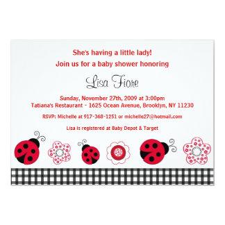 Ladybug Gingham Custom Baby Shower Invitations