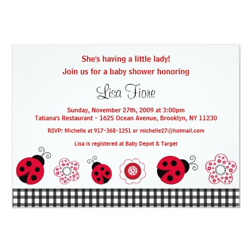 ladybug gingham custom baby shower invitations zazzle