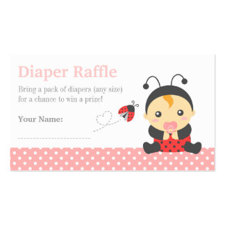 Ladybug Girl Baby Shower Diaper Raffle Tickets Double-Sided Standard Business Cards (Pack Of 100)
