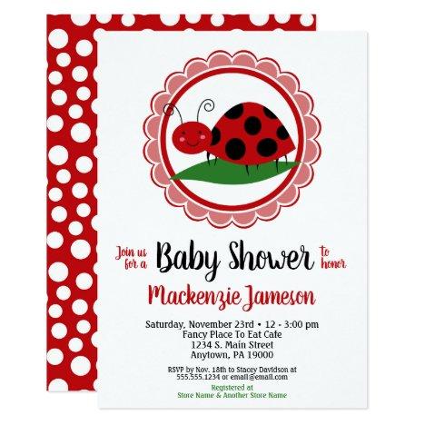 Ladybug Girls Baby Shower Invitation