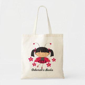 Ladybug Girls Book Tote Bag (Personalized)