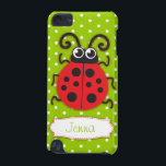 "Ladybug girls name green ipod touch case<br><div class=""desc"">Cute original red ladybug / ladybird on a green polka flowers kids ipod case. Reads Jenna or you can personalize with your own name. Exclusively designed by Sarah Trett.</div>"