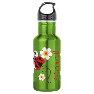 Ladybug girls name red yellow drinks bottle