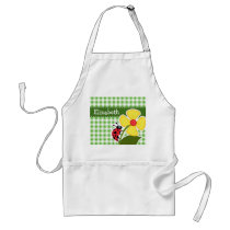 Ladybug; Green Checkered; Gingham Adult Apron