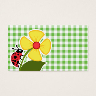Ladybug; Green Checkered; Gingham Business Card