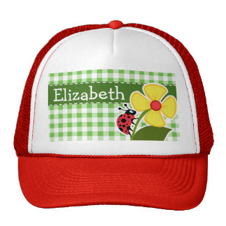 Ladybug; Green Checkered; Gingham Trucker Hat