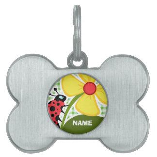 Ladybug; Green Checkered; Gingham Pet Name Tag