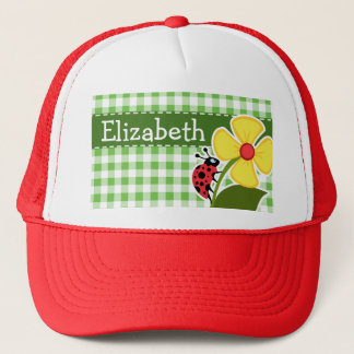 Ladybug; Green Checkered; Gingham Trucker Hat