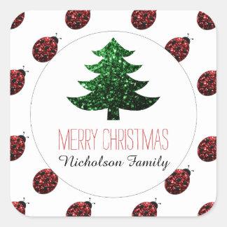 Ladybug + Green Christmas tree sparkles Gift Tag Stickers
