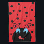 """Ladybug Hand Towel<br><div class=""""desc"""">This adorable lady bug with cute swirly antenna,  big blue eyes and black polka dots on her red wings is licking her smiling lips in eager anticipation of the day.</div>"""