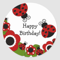 Ladybug Happy Birthday Sticker