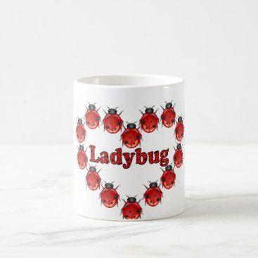 Coffee Themed Ladybug Heart Coffee Mug