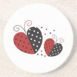 Ladybug Heart cute Beverage Coasters