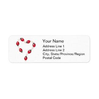 Ladybug Heart Illustration Address Labels