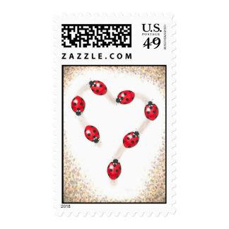 Ladybug Heart Postage Stamps