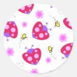 ladybug hearts. round stickers